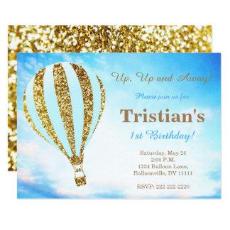 De uitnodiging van de hete luchtballon in blauw en