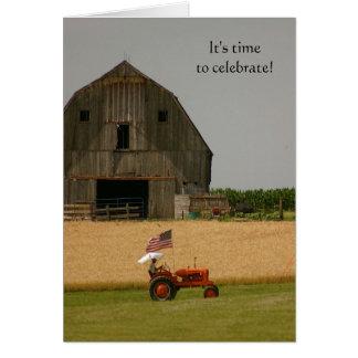 De Uitnodiging van de tractor: Tijd te vieren! Notitiekaart