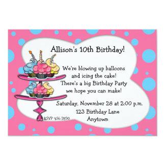 De Uitnodiging van de Verjaardag van Cupcakes