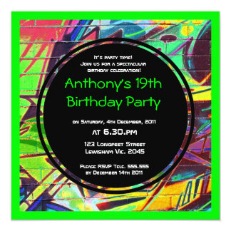 De Uitnodiging van de Verjaardag van Graffiti