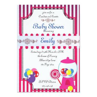 De uitnodiging van het Baby shower van snoepjes en