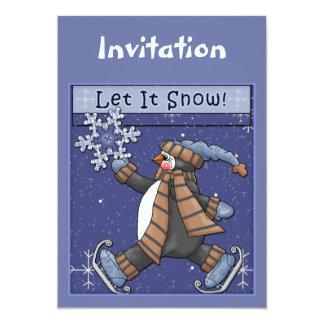 De uitnodiging van Kerstmis met grappige pinguïn