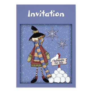 De uitnodiging van Kerstmis met grappige sneeuwman