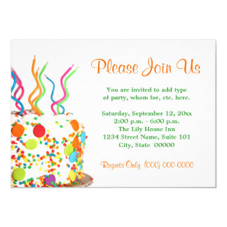 De Uitnodigingen van de Cake van de verjaardag