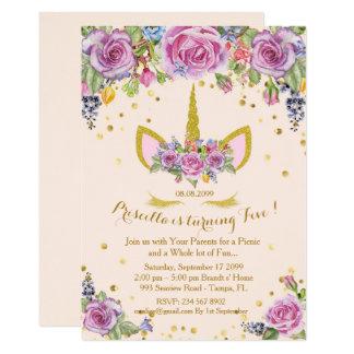 De uitnodigingsmeisje van de verjaardag, eenhoorn, kaart