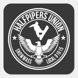 De Unie van Halfpipers van Snowmass Vierkante Sticker