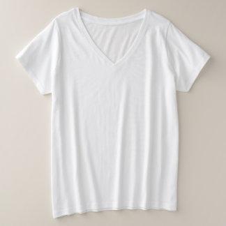 De v-Hals van de plus-Grootte van vrouwen T-shirt
