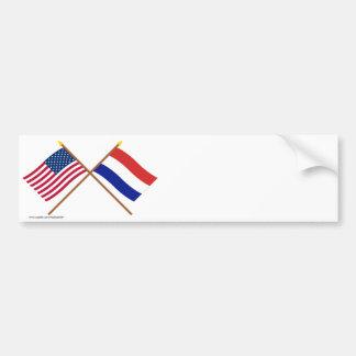 De V.S. en Nederland Gekruiste Vlaggen Bumpersticker