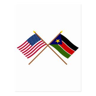 De V.S. en Zuidelijke de Soedan Gekruiste Vlaggen Briefkaart