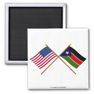 De V S en Zuidelijke de Soedan Gekruiste Vlaggen Koelkast Magneetjes
