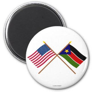 De V.S. en Zuidelijke de Soedan Gekruiste Vlaggen Magneet