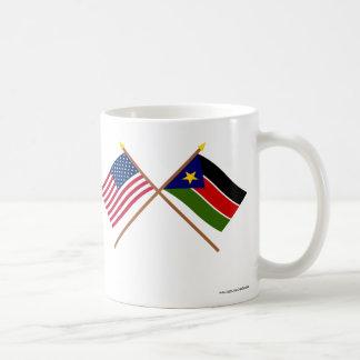 De V.S. en Zuidelijke de Soedan Gekruiste Vlaggen Mok