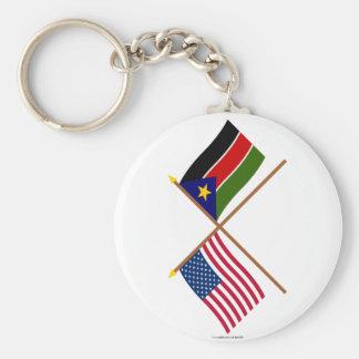De V.S. en Zuidelijke de Soedan Gekruiste Vlaggen Sleutel Hangers