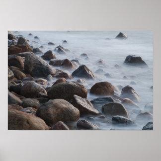 De V.S., New York, het Oosten Hampton. Oceaan bran Poster