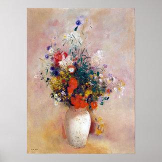 De Vaas van Odilon Redon van Bloemen (Roze Poster