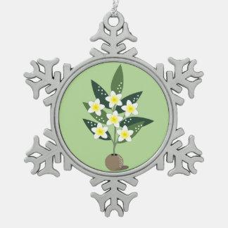 De Vaas van Plumeria Tin Sneeuwvlok Ornament