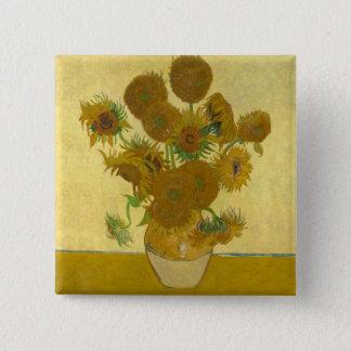 De Vaas van Vincent van Gogh met 15 Zonnebloemen Vierkante Button 5,1 Cm