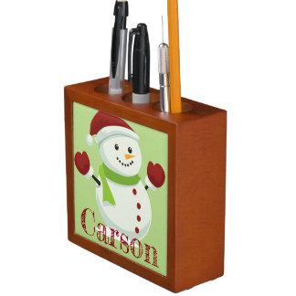 De vakantie juicht Sneeuwman van de Kerstman van Pennenhouder