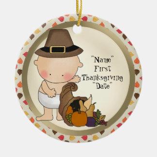 De Vakantie van de eerste Thanksgiving voegt Rond Keramisch Ornament