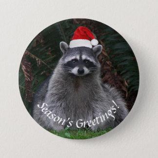 De Vakantie van de Wasbeer van Kerstmis Ronde Button 7,6 Cm