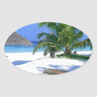 De Vakantie van het Paradijs van het strand Ovale Sticker