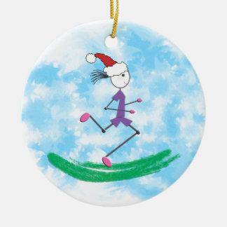 De Vakantie van Kerstmis Dame Runner - voorzijde Rond Keramisch Ornament