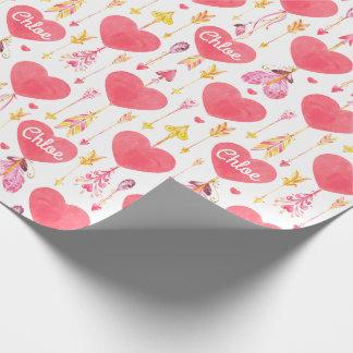 """De Valentijnsdag van de Pijlen van harten """"n"""" Inpakpapier"""