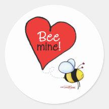 De Valentijnskaart van de Mijn van de bij Ronde Sticker