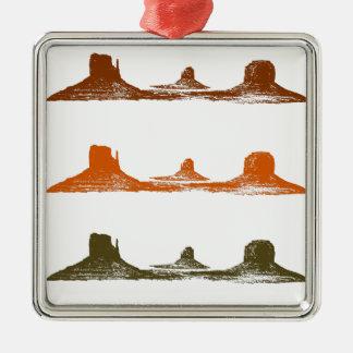 De Vallei van het monument, 3 bergen, 3 kleuren Zilverkleurig Vierkant Ornament