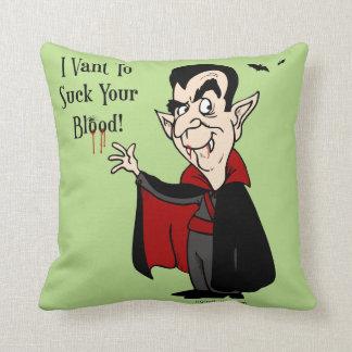 De vampier zuigt Uw Bloed! Sierkussen