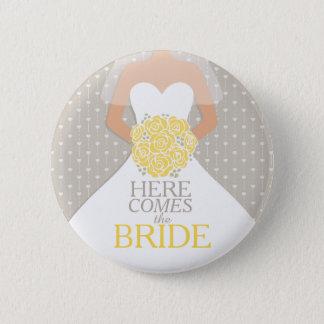 De van het de repetitiehuwelijk van de Bruid gele Ronde Button 5,7 Cm