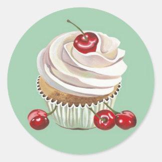 De vanille cupcake stickers van de kers