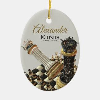 De Vastgestelde Koning van het schaak van de Raad Keramisch Ovaal Ornament