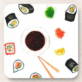 De Vastgestelde Waterverf van sushi Bier Onderzetters