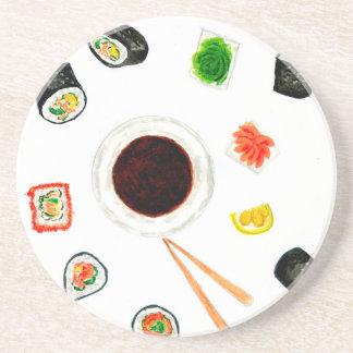 De Vastgestelde Waterverf van sushi Zandsteen Onderzetter