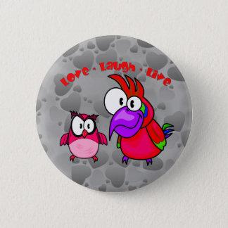 De vector Vogels van de Cartoon met de Lach van de Ronde Button 5,7 Cm