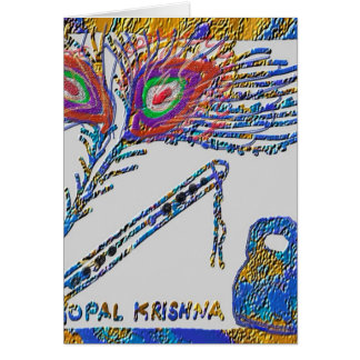 De Veer en de Fluit van de pauw - Hazen Krishna Kaart
