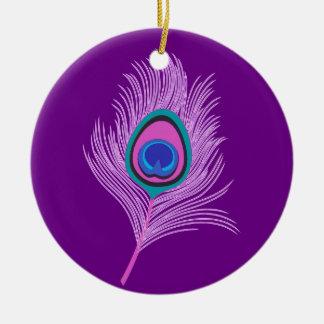 De Veer van de Pauw van de orchidee op Paars Rond Keramisch Ornament
