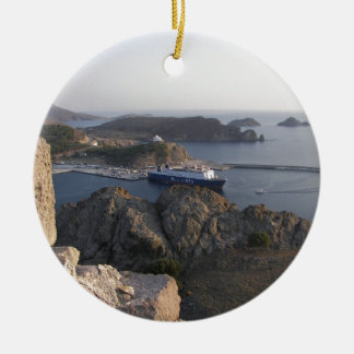 De Veerboot van Limnos van de Heuvel Rond Keramisch Ornament