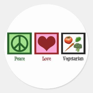 De Vegetariër van de Liefde van de vrede Ronde Sticker