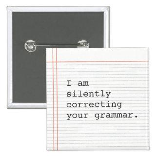 De verbeterende knoop van de Grammatica, het Vierkante Button 5,1 Cm
