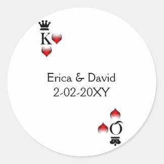 De verbinding van de het huwelijksenvelop van ronde stickers