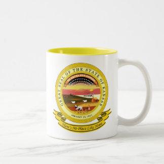 De Verbinding van Kansas Tweekleurige Koffiemok