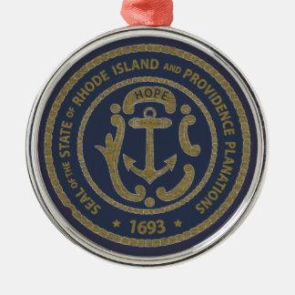 De Verbinding van Rhode Island Zilverkleurig Rond Ornament