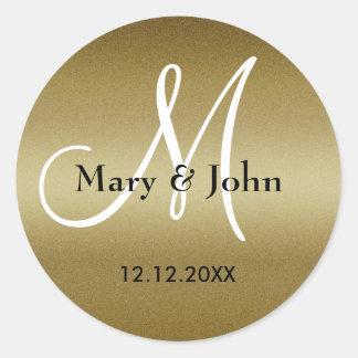 De Verbindingen van het Monogram van de gouden Ronde Sticker
