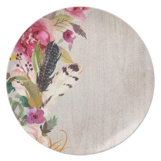 De Veren en de Bloemen van Boho Melamine+bord