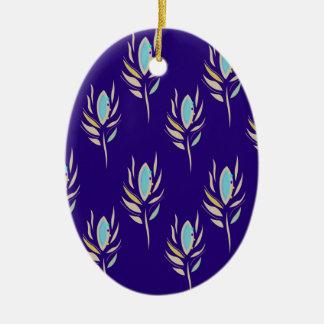 De Veren van de pauw ontwerpen heerlijk Blauw Keramisch Ovaal Ornament