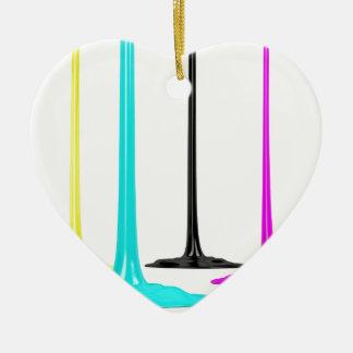 De verf CMYK giet op wit Keramisch Hart Ornament
