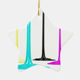 De verf CMYK giet op wit Keramisch Ster Ornament