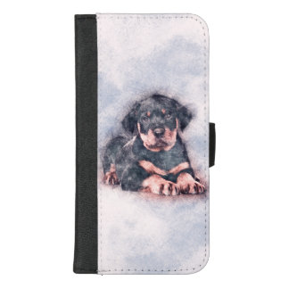 De Verf van de Schets van het Puppy van Rottweiler iPhone 8/7 Plus Portemonnee Hoesje